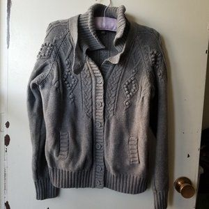 Grey Long Sleeve Sweater with Cable and Puff